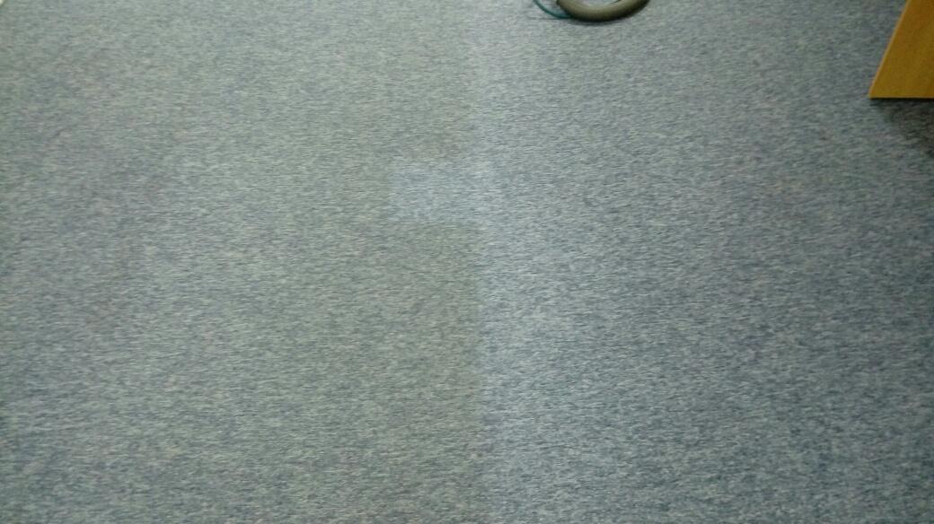 wyczyszczona w połowie wykładzina dywanowa