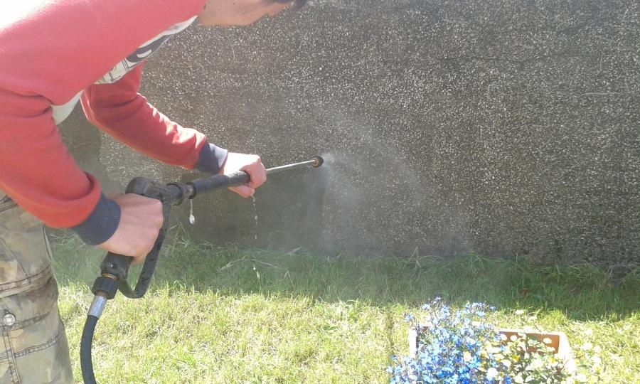 Czyszczenie muru, elewacji z glonów